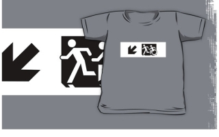 Accessible Means of Egress Icon Exit Sign Wheelchair Wheelie Running Man Symbol by Lee Wilson PWD Disability Emergency Evacuation Kids T-shirt 110