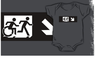Accessible Means of Egress Icon Exit Sign Wheelchair Wheelie Running Man Symbol by Lee Wilson PWD Disability Emergency Evacuation Kids T-shirt 111