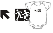 Accessible Means of Egress Icon Exit Sign Wheelchair Wheelie Running Man Symbol by Lee Wilson PWD Disability Emergency Evacuation Kids T-shirt 112
