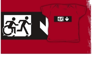 Accessible Means of Egress Icon Exit Sign Wheelchair Wheelie Running Man Symbol by Lee Wilson PWD Disability Emergency Evacuation Kids T-shirt 113