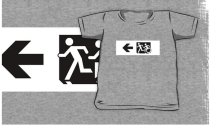 Accessible Means of Egress Icon Exit Sign Wheelchair Wheelie Running Man Symbol by Lee Wilson PWD Disability Emergency Evacuation Kids T-shirt 114