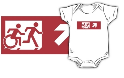 Accessible Means of Egress Icon Exit Sign Wheelchair Wheelie Running Man Symbol by Lee Wilson PWD Disability Emergency Evacuation Kids T-shirt 116