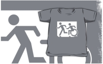 Accessible Means of Egress Icon Exit Sign Wheelchair Wheelie Running Man Symbol by Lee Wilson PWD Disability Emergency Evacuation Kids T-shirt 117