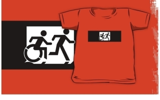 Accessible Means of Egress Icon Exit Sign Wheelchair Wheelie Running Man Symbol by Lee Wilson PWD Disability Emergency Evacuation Kids T-shirt 118