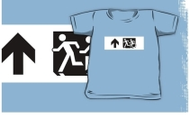 Accessible Means of Egress Icon Exit Sign Wheelchair Wheelie Running Man Symbol by Lee Wilson PWD Disability Emergency Evacuation Kids T-shirt 119