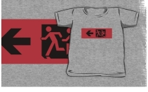 Accessible Means of Egress Icon Exit Sign Wheelchair Wheelie Running Man Symbol by Lee Wilson PWD Disability Emergency Evacuation Kids T-shirt 12