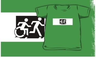 Accessible Means of Egress Icon Exit Sign Wheelchair Wheelie Running Man Symbol by Lee Wilson PWD Disability Emergency Evacuation Kids T-shirt 120