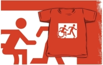 Accessible Means of Egress Icon Exit Sign Wheelchair Wheelie Running Man Symbol by Lee Wilson PWD Disability Emergency Evacuation Kids T-shirt 122