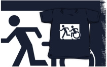Accessible Means of Egress Icon Exit Sign Wheelchair Wheelie Running Man Symbol by Lee Wilson PWD Disability Emergency Evacuation Kids T-shirt 125