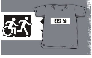 Accessible Means of Egress Icon Exit Sign Wheelchair Wheelie Running Man Symbol by Lee Wilson PWD Disability Emergency Evacuation Kids T-shirt 126