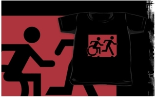 Accessible Means of Egress Icon Exit Sign Wheelchair Wheelie Running Man Symbol by Lee Wilson PWD Disability Emergency Evacuation Kids T-shirt 128