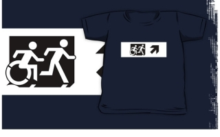 Accessible Means of Egress Icon Exit Sign Wheelchair Wheelie Running Man Symbol by Lee Wilson PWD Disability Emergency Evacuation Kids T-shirt 129