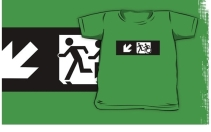 Accessible Means of Egress Icon Exit Sign Wheelchair Wheelie Running Man Symbol by Lee Wilson PWD Disability Emergency Evacuation Kids T-shirt 130
