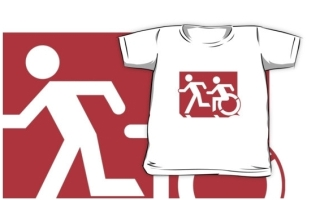 Accessible Means of Egress Icon Exit Sign Wheelchair Wheelie Running Man Symbol by Lee Wilson PWD Disability Emergency Evacuation Kids T-shirt 131