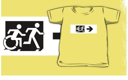 Accessible Means of Egress Icon Exit Sign Wheelchair Wheelie Running Man Symbol by Lee Wilson PWD Disability Emergency Evacuation Kids T-shirt 132