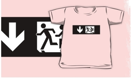 Accessible Means of Egress Icon Exit Sign Wheelchair Wheelie Running Man Symbol by Lee Wilson PWD Disability Emergency Evacuation Kids T-shirt 133