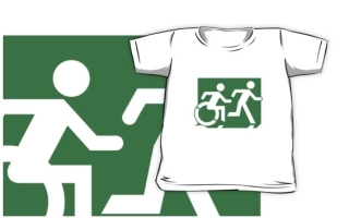 Accessible Means of Egress Icon Exit Sign Wheelchair Wheelie Running Man Symbol by Lee Wilson PWD Disability Emergency Evacuation Kids T-shirt 134