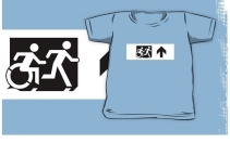 Accessible Means of Egress Icon Exit Sign Wheelchair Wheelie Running Man Symbol by Lee Wilson PWD Disability Emergency Evacuation Kids T-shirt 135