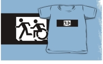 Accessible Means of Egress Icon Exit Sign Wheelchair Wheelie Running Man Symbol by Lee Wilson PWD Disability Emergency Evacuation Kids T-shirt 136