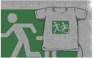 Accessible Means of Egress Icon Exit Sign Wheelchair Wheelie Running Man Symbol by Lee Wilson PWD Disability Emergency Evacuation Kids T-shirt 137