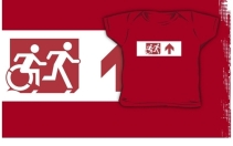 Accessible Means of Egress Icon Exit Sign Wheelchair Wheelie Running Man Symbol by Lee Wilson PWD Disability Emergency Evacuation Kids T-shirt 139