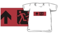 Accessible Means of Egress Icon Exit Sign Wheelchair Wheelie Running Man Symbol by Lee Wilson PWD Disability Emergency Evacuation Kids T-shirt 14