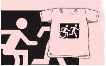 Accessible Means of Egress Icon Exit Sign Wheelchair Wheelie Running Man Symbol by Lee Wilson PWD Disability Emergency Evacuation Kids T-shirt 140