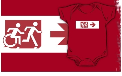 Accessible Means of Egress Icon Exit Sign Wheelchair Wheelie Running Man Symbol by Lee Wilson PWD Disability Emergency Evacuation Kids T-shirt 142