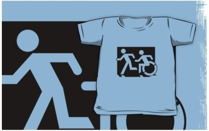 Accessible Means of Egress Icon Exit Sign Wheelchair Wheelie Running Man Symbol by Lee Wilson PWD Disability Emergency Evacuation Kids T-shirt 143