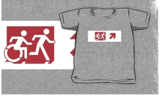 Accessible Means of Egress Icon Exit Sign Wheelchair Wheelie Running Man Symbol by Lee Wilson PWD Disability Emergency Evacuation Kids T-shirt 144