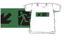 Accessible Means of Egress Icon Exit Sign Wheelchair Wheelie Running Man Symbol by Lee Wilson PWD Disability Emergency Evacuation Kids T-shirt 145