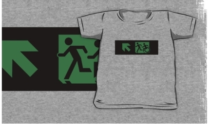 Accessible Means of Egress Icon Exit Sign Wheelchair Wheelie Running Man Symbol by Lee Wilson PWD Disability Emergency Evacuation Kids T-shirt 146