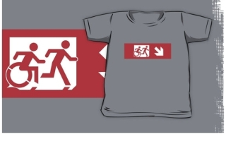 Accessible Means of Egress Icon Exit Sign Wheelchair Wheelie Running Man Symbol by Lee Wilson PWD Disability Emergency Evacuation Kids T-shirt 147