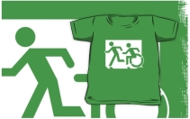 Accessible Means of Egress Icon Exit Sign Wheelchair Wheelie Running Man Symbol by Lee Wilson PWD Disability Emergency Evacuation Kids T-shirt 148