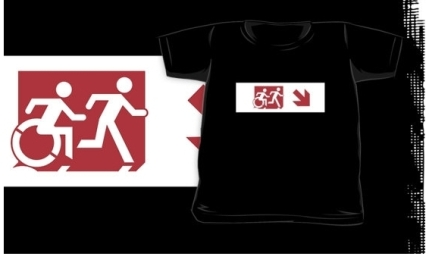 Accessible Means of Egress Icon Exit Sign Wheelchair Wheelie Running Man Symbol by Lee Wilson PWD Disability Emergency Evacuation Kids T-shirt 149
