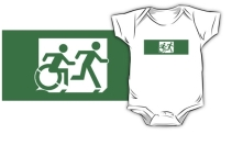 Accessible Means of Egress Icon Exit Sign Wheelchair Wheelie Running Man Symbol by Lee Wilson PWD Disability Emergency Evacuation Kids T-shirt 15