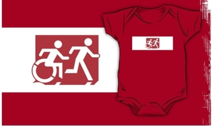 Accessible Means of Egress Icon Exit Sign Wheelchair Wheelie Running Man Symbol by Lee Wilson PWD Disability Emergency Evacuation Kids T-shirt 153