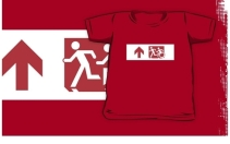 Accessible Means of Egress Icon Exit Sign Wheelchair Wheelie Running Man Symbol by Lee Wilson PWD Disability Emergency Evacuation Kids T-shirt 155