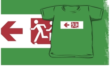Accessible Means of Egress Icon Exit Sign Wheelchair Wheelie Running Man Symbol by Lee Wilson PWD Disability Emergency Evacuation Kids T-shirt 157