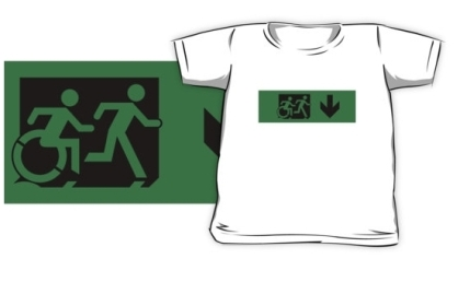 Accessible Means of Egress Icon Exit Sign Wheelchair Wheelie Running Man Symbol by Lee Wilson PWD Disability Emergency Evacuation Kids T-shirt 158