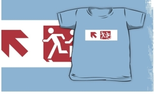 Accessible Means of Egress Icon Exit Sign Wheelchair Wheelie Running Man Symbol by Lee Wilson PWD Disability Emergency Evacuation Kids T-shirt 159
