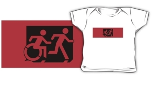 Accessible Means of Egress Icon Exit Sign Wheelchair Wheelie Running Man Symbol by Lee Wilson PWD Disability Emergency Evacuation Kids T-shirt 16