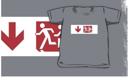Accessible Means of Egress Icon Exit Sign Wheelchair Wheelie Running Man Symbol by Lee Wilson PWD Disability Emergency Evacuation Kids T-shirt 163