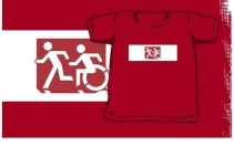 Accessible Means of Egress Icon Exit Sign Wheelchair Wheelie Running Man Symbol by Lee Wilson PWD Disability Emergency Evacuation Kids T-shirt 165