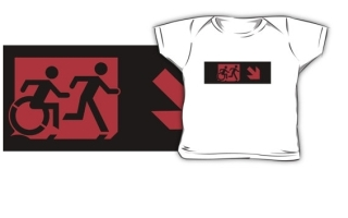 Accessible Means of Egress Icon Exit Sign Wheelchair Wheelie Running Man Symbol by Lee Wilson PWD Disability Emergency Evacuation Kids T-shirt 167