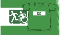 Accessible Means of Egress Icon Exit Sign Wheelchair Wheelie Running Man Symbol by Lee Wilson PWD Disability Emergency Evacuation Kids T-shirt 168