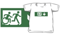 Accessible Means of Egress Icon Exit Sign Wheelchair Wheelie Running Man Symbol by Lee Wilson PWD Disability Emergency Evacuation Kids T-shirt 17