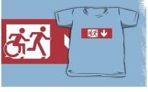 Accessible Means of Egress Icon Exit Sign Wheelchair Wheelie Running Man Symbol by Lee Wilson PWD Disability Emergency Evacuation Kids T-shirt 170