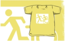 Accessible Means of Egress Icon Exit Sign Wheelchair Wheelie Running Man Symbol by Lee Wilson PWD Disability Emergency Evacuation Kids T-shirt 171