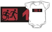 Accessible Means of Egress Icon Exit Sign Wheelchair Wheelie Running Man Symbol by Lee Wilson PWD Disability Emergency Evacuation Kids T-shirt 172